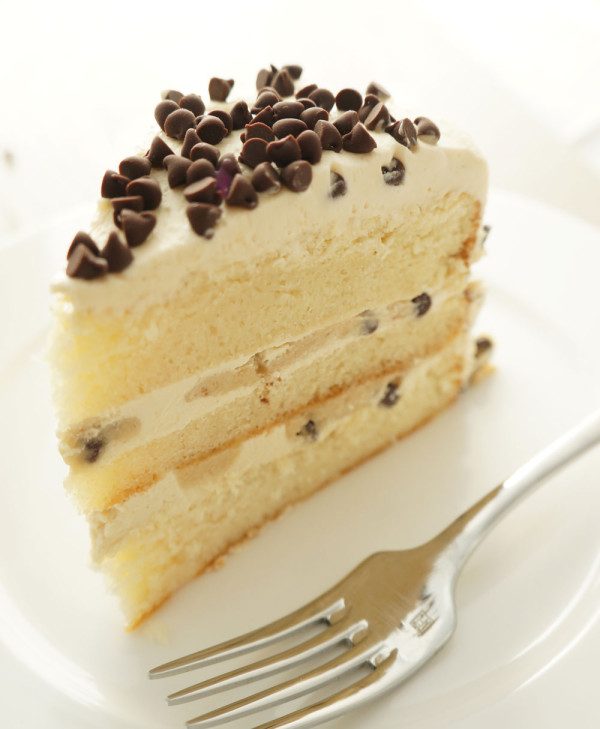 Slice of cookie dough cake