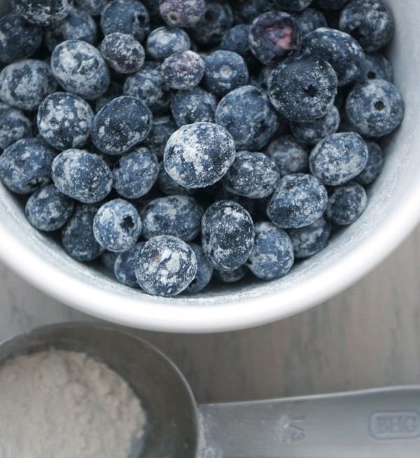 Toss blueberries in flour so they don't sink