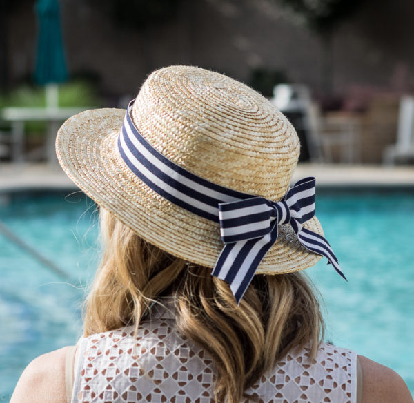 DIY Striped Bow Straw Hat