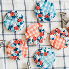 Red White and Blue Water Color Gingham Cookies