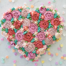 Buttercream Flower Heart Cake